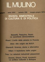 Copertina del fascicolo dell'articolo La politica culturale a Bologna: